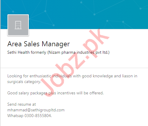 Area Sales Manager Job in Karachi