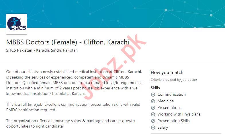 Female MBBS Doctor Job in Karachi