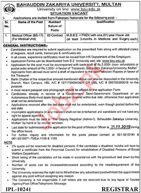 Bahauddin Zakariya University BZU Job in Multan 2019