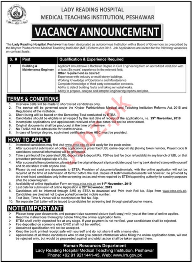 Medical Teaching Institution LRH Peshawar Jobs 2019