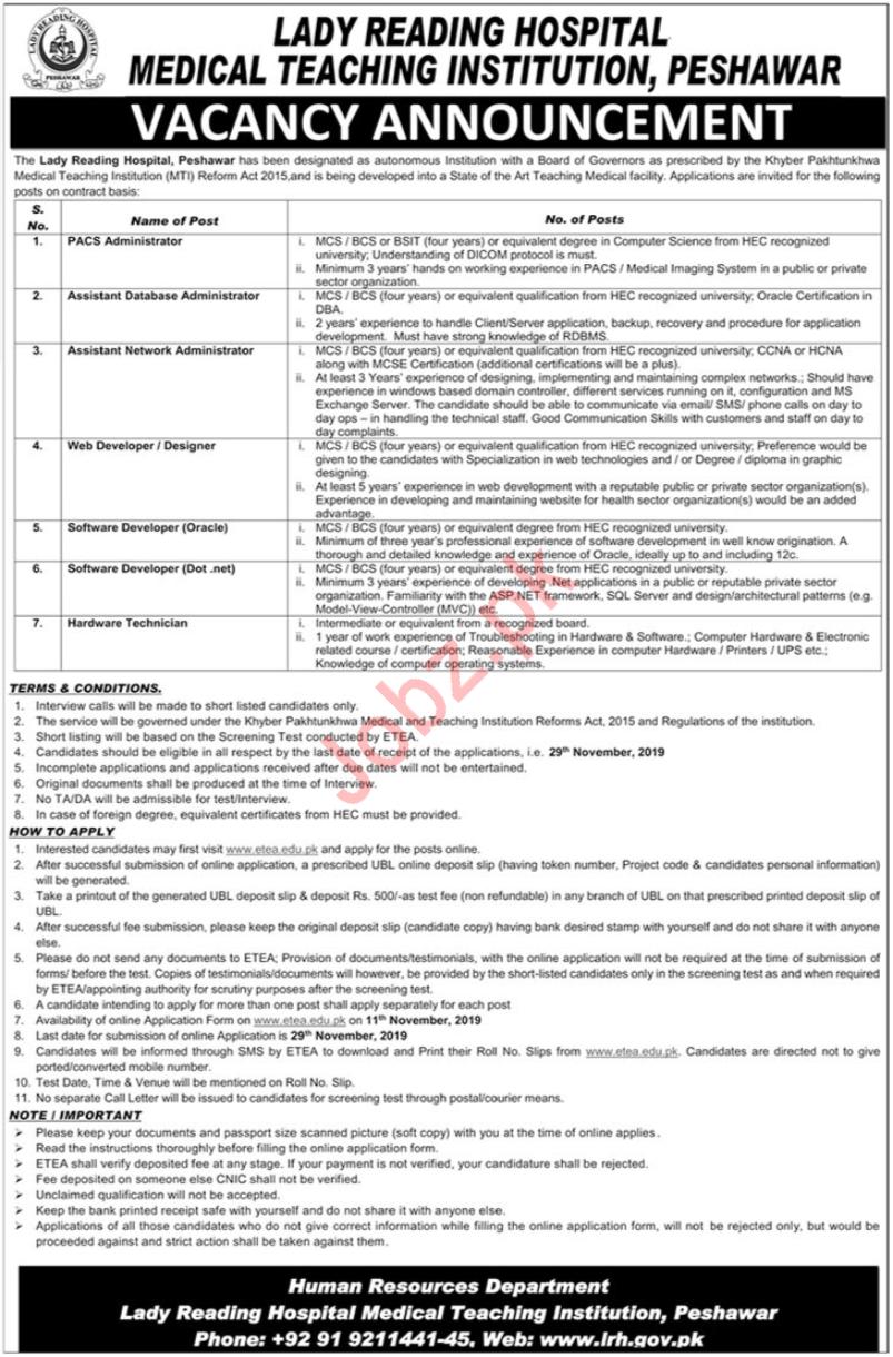 Lady Reading Hospital MTI Peshawar Jobs 2019