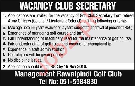 Rawalpindi Golf Club Secretary Job in Rawalpindi