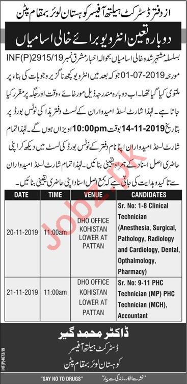 District Health Officer Kohistan Lower Jobs Interview 2019