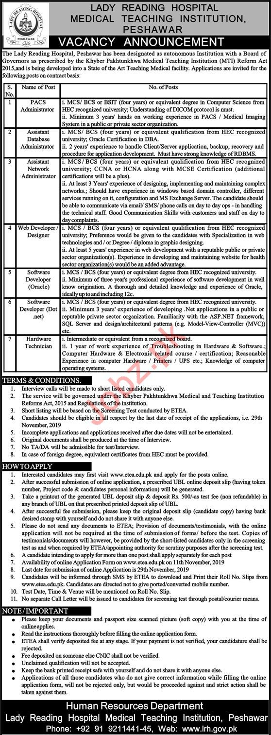 MTI Lady Reading Hospital LRH Peshawar Jobs 2019