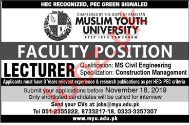 Muslim Youth University MYU Islamabad Jobs for Lecturers