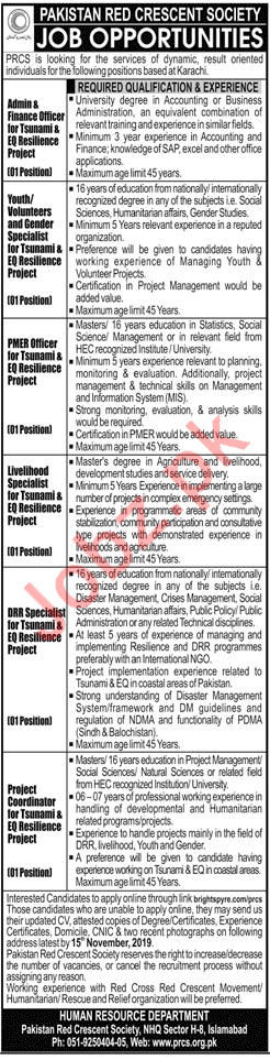 Pakistan Red Crescent Society PRCS NGO Jobs 2019