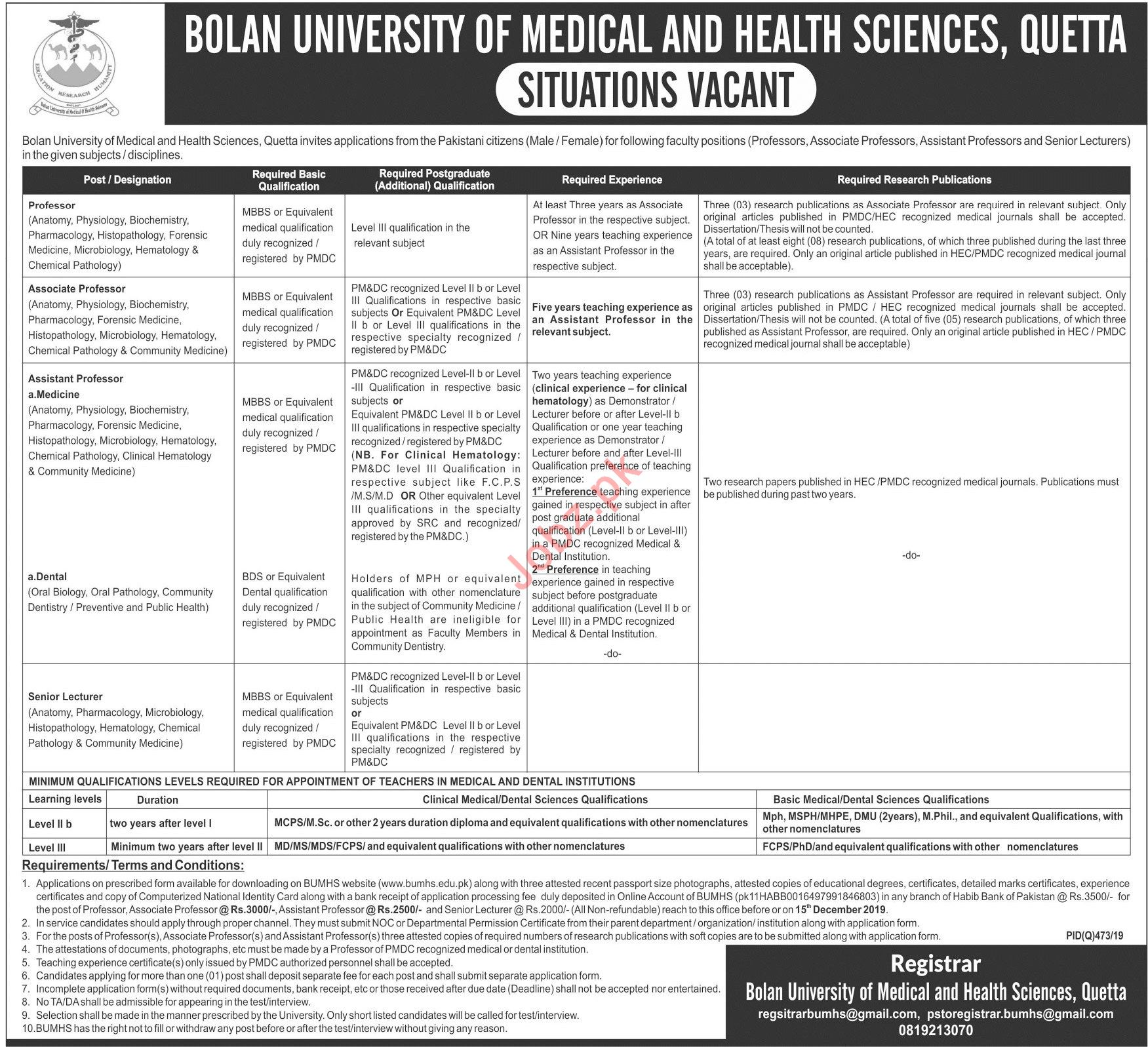 Bolan University of Medical and Health Sciences Jobs 2019