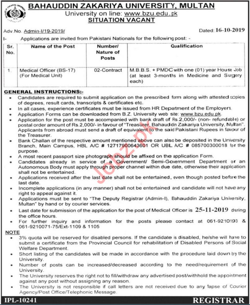 Bahauddin Zakariya University BZU Job For Medical Officer