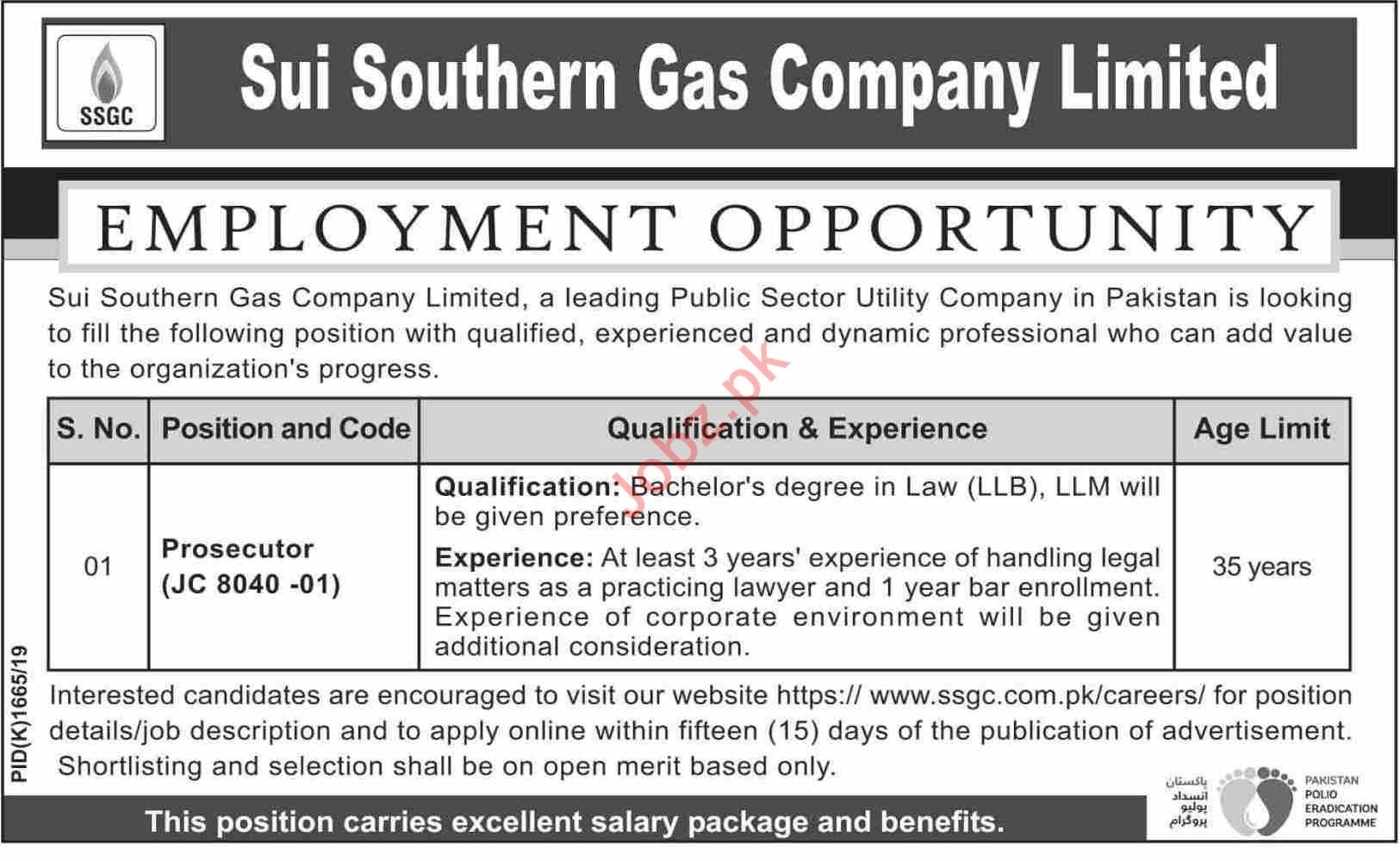 Sui Southern Gas Company Limited SSGCL Prosecutor Jobs 2019