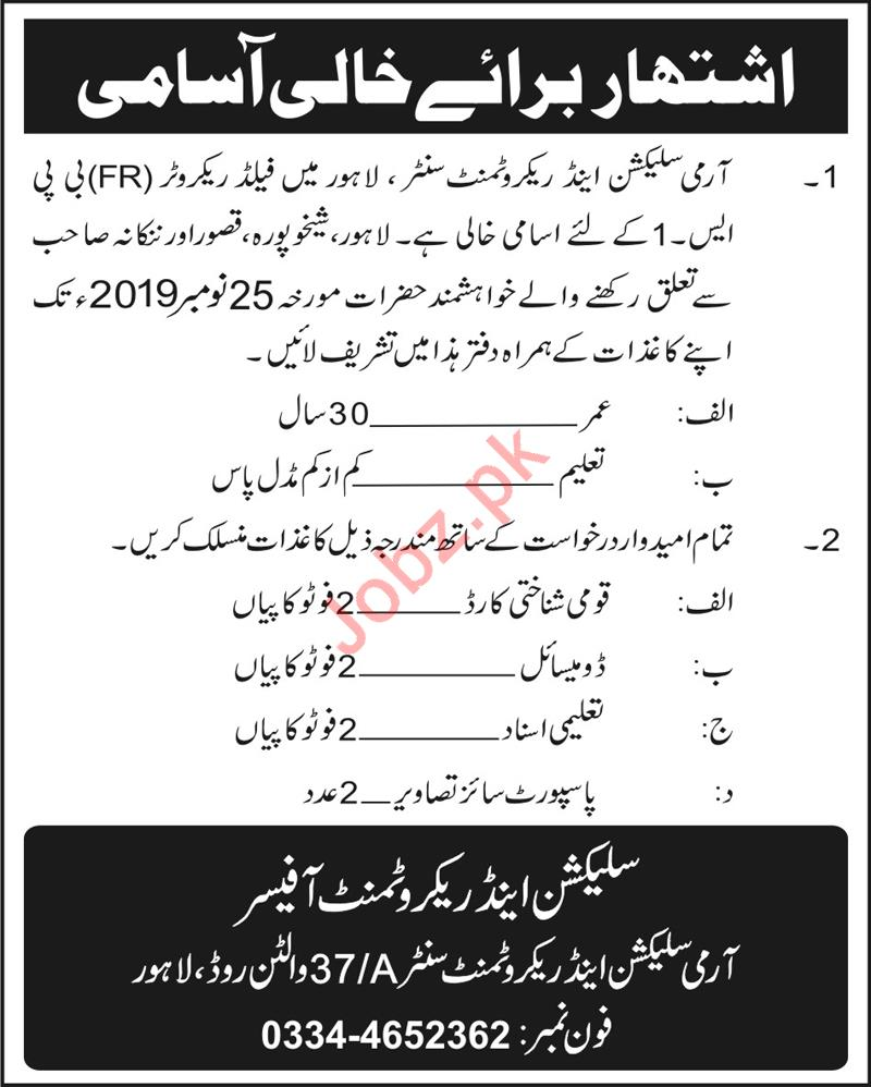 Army Selection & Recruitment Center Field Recruiter Jobs 201