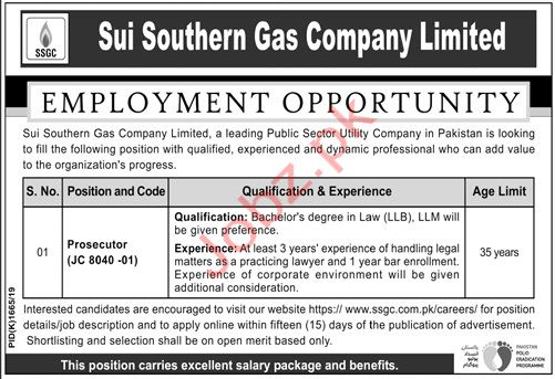 Sui Southern Gas Company Limited Prosecutor Jobs 2019