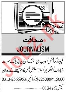 Jang Sunday Classified Ads 10th Nov 2019 for Journalism