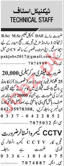 Jang Sunday Classified Ads 10th Nov 2019 for Technical Staff