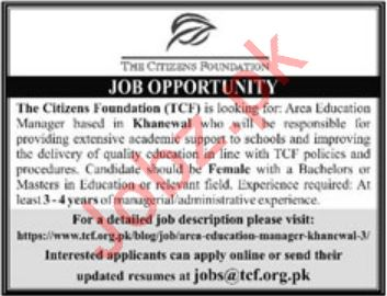 The Citizens Foundation TCF NGO Job In Sadiqabad & Khanewal