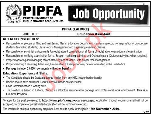 Pakistan Institute Of Public Finance Accountants Lahore Jobs