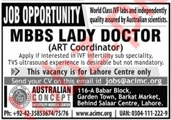 MBBS Lady Doctor Job in Lahore