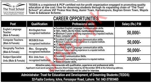 The Trust School Jobs 2019 in Lahore