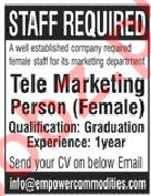 Telemarketing Person Job 2019 in Lahore