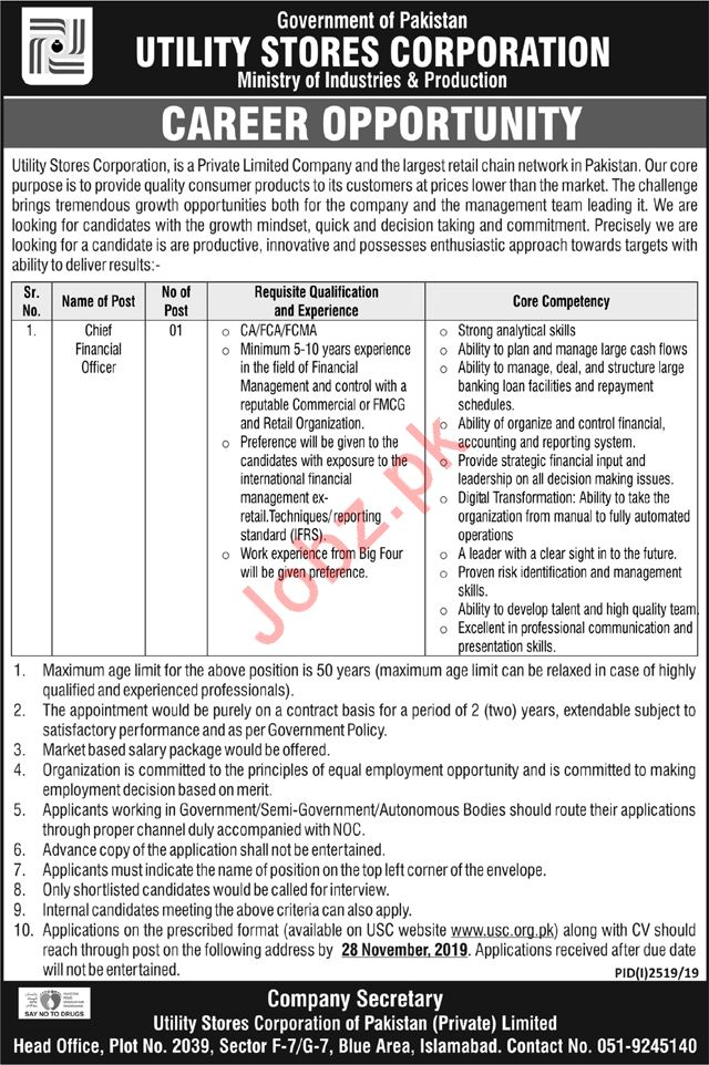 Utility Stores Corporation Job For Chief Financial Officer