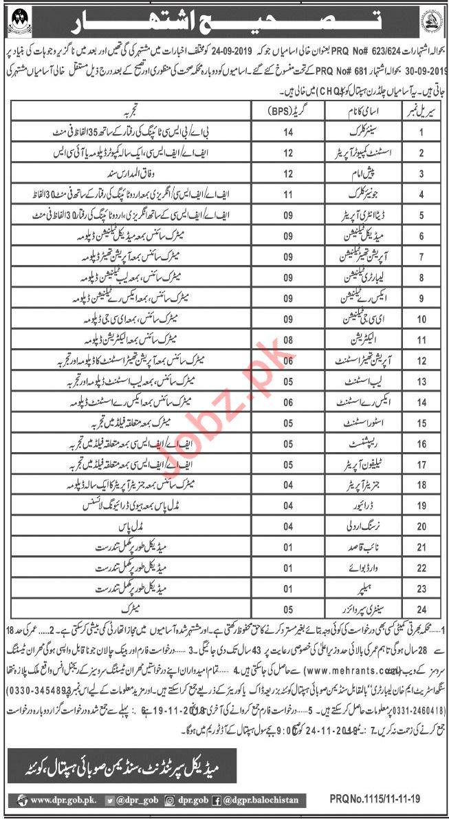 Children Hospital Quetta Jobs via Mehran Testing Service MTS