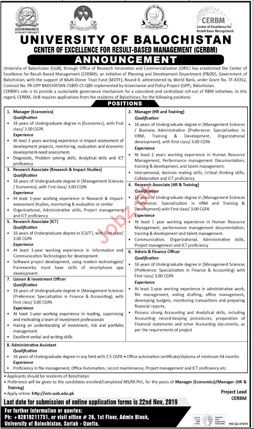 University of Balochistan Jobs For Non Teaching Staff