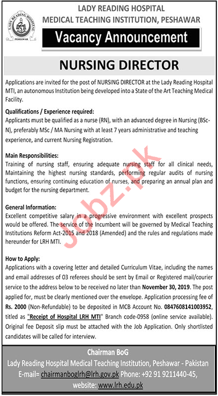 Lady Reading Hospital Medical Teaching Institution MTI Jobs