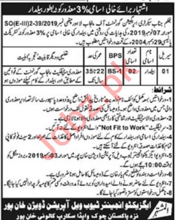 Tube Well Operation Division Khanpur Jobs 2019 for Baildar