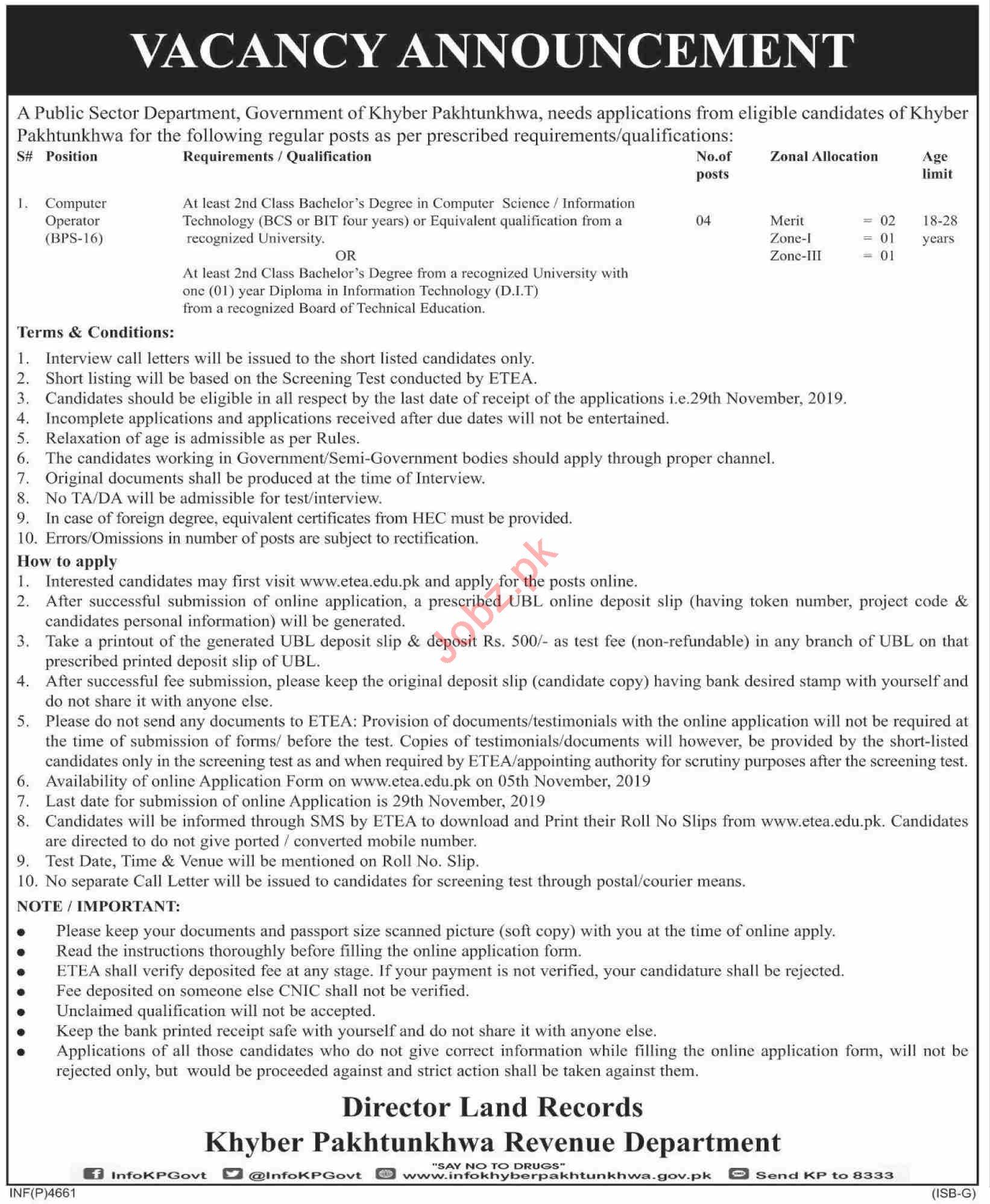 KPK Revenue Authority KPRA Peshawar Jobs 2019