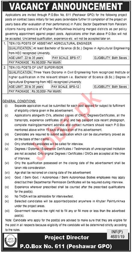 PO Box No 611 GPO Peshawar Jobs 2019