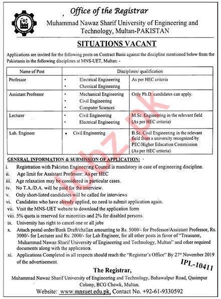 University Of Engineering & Technology Multan Jobs 2019