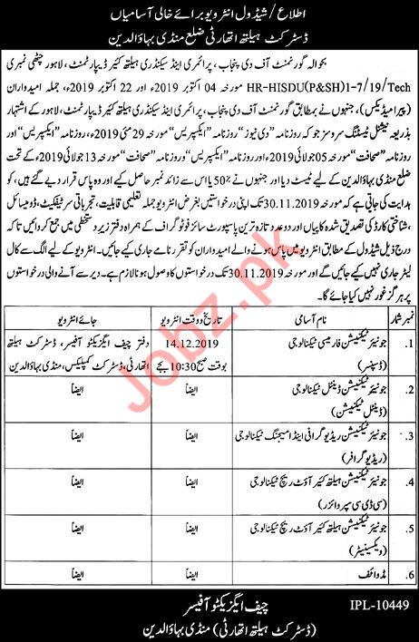 District Health Authority Mandi Bahauddin Jobs interview 209