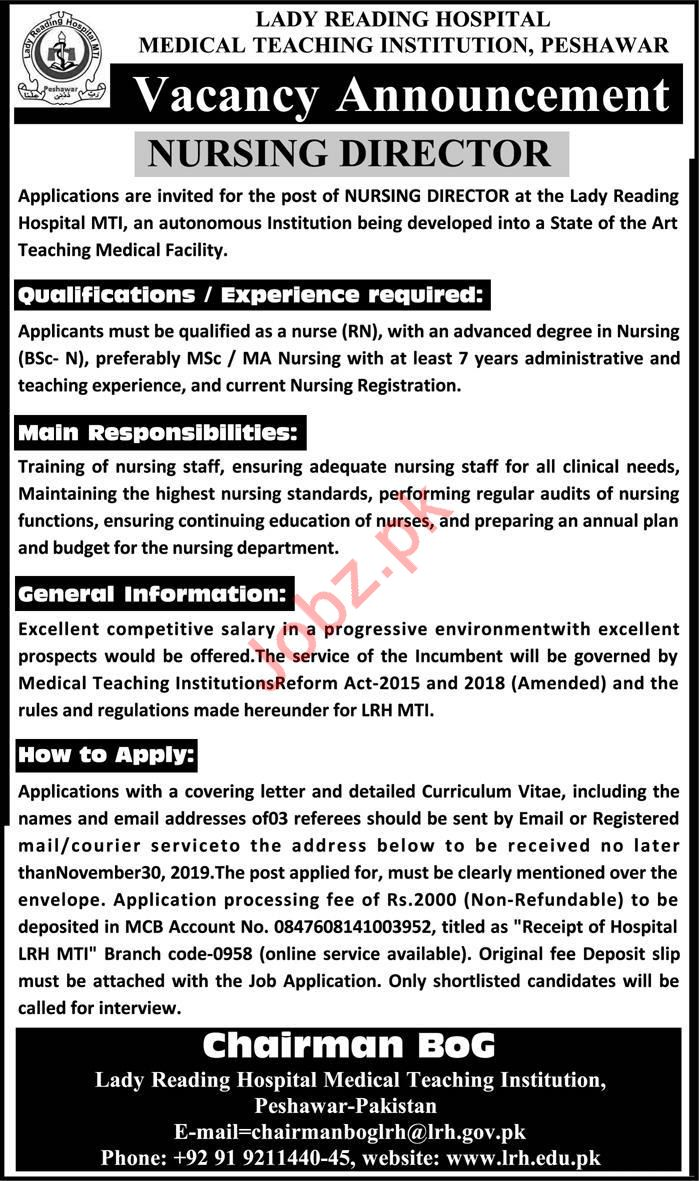 Lady Reading Hospital LRH Jobs 2019 for Nursing Director