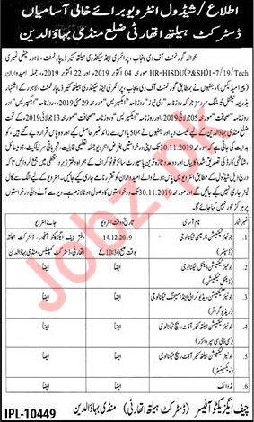 District Health Authority Mandi Bahauddin Jobs 2019