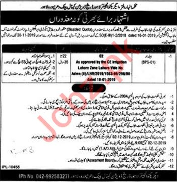 Irrigation Department Jobs For Baildar in Lahore