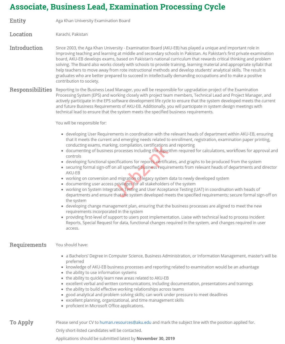 Aga Khan University Jobs 2019 in Karachi Pakistan