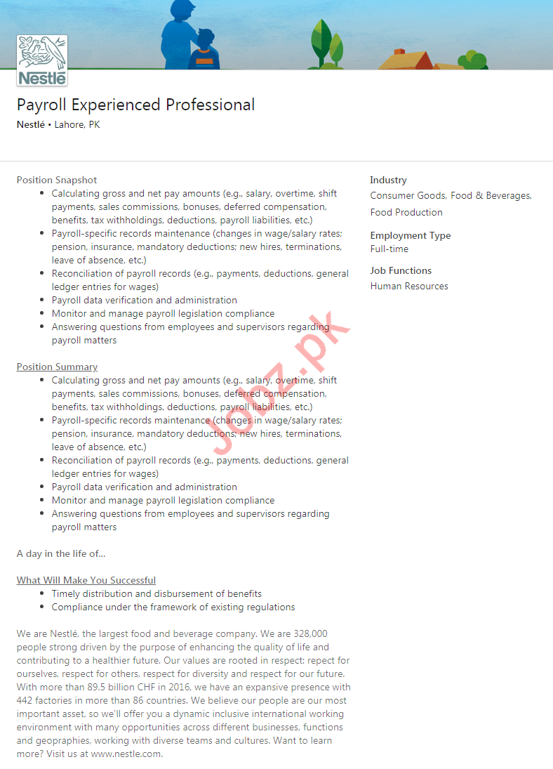 Nestle Pakistan Job For Payroll Experienced Professional