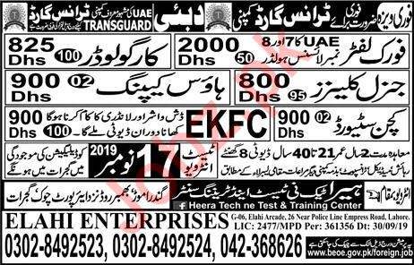 Forklifter Cargo Loader Housekeeper Jobs in Dubai