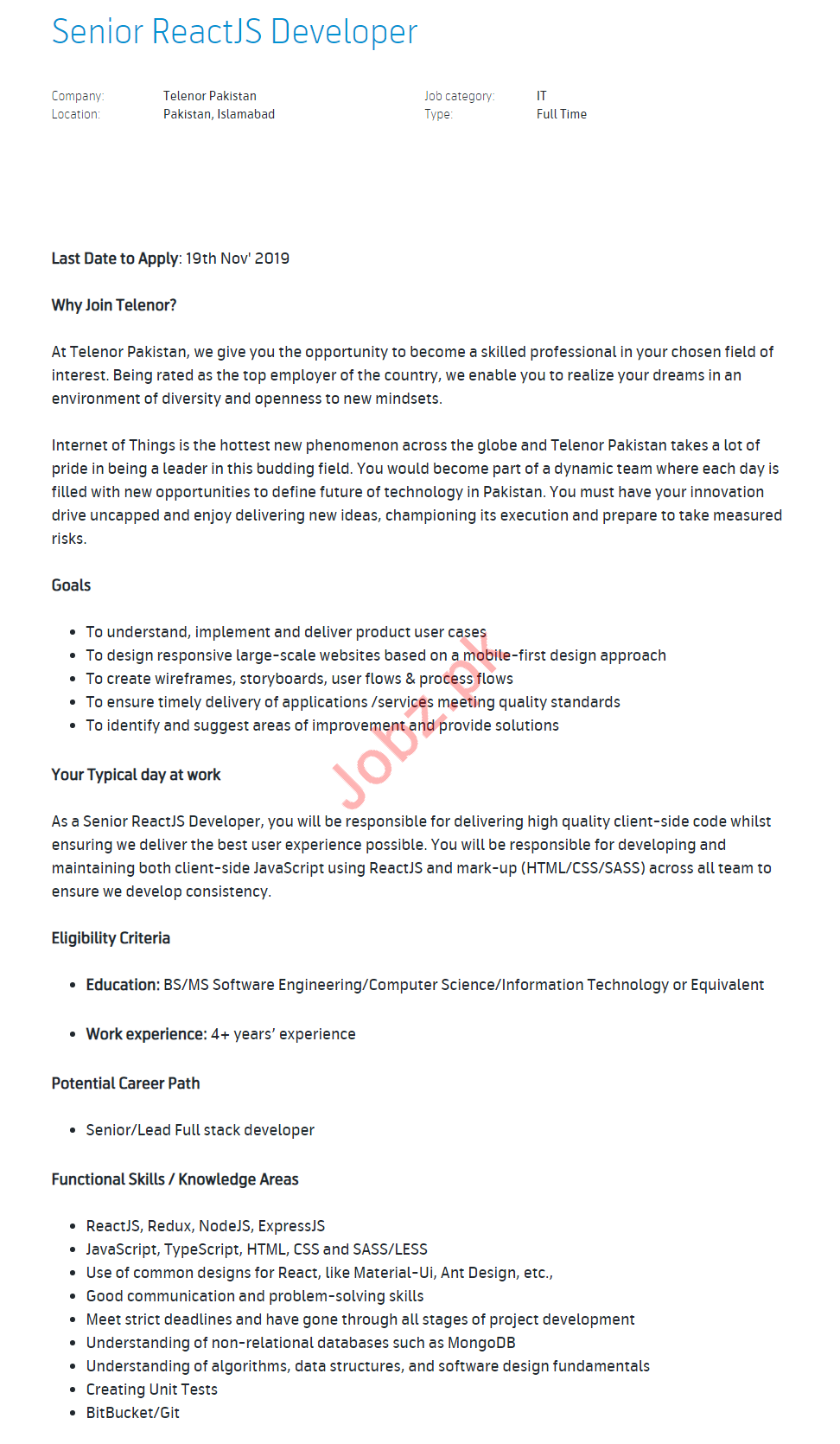 Senior ReactJS Developer Job 2019 in Islamabad
