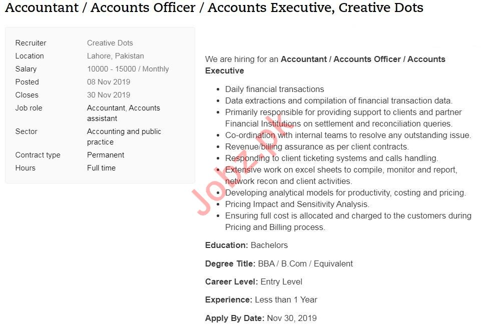 Accountant & Accounts Officer Jobs 2019 in Lahore