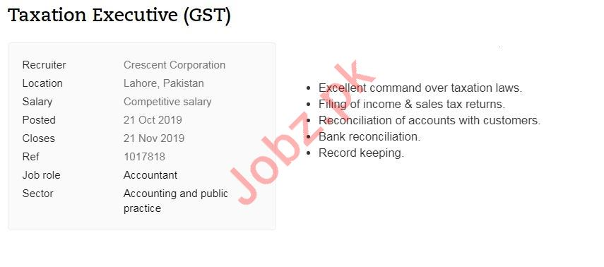 Taxation Executive Job 2019 in Lahore