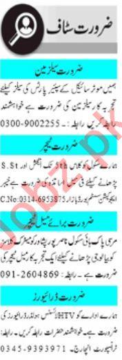 Male & Female Staff Jobs Open in Peshawar