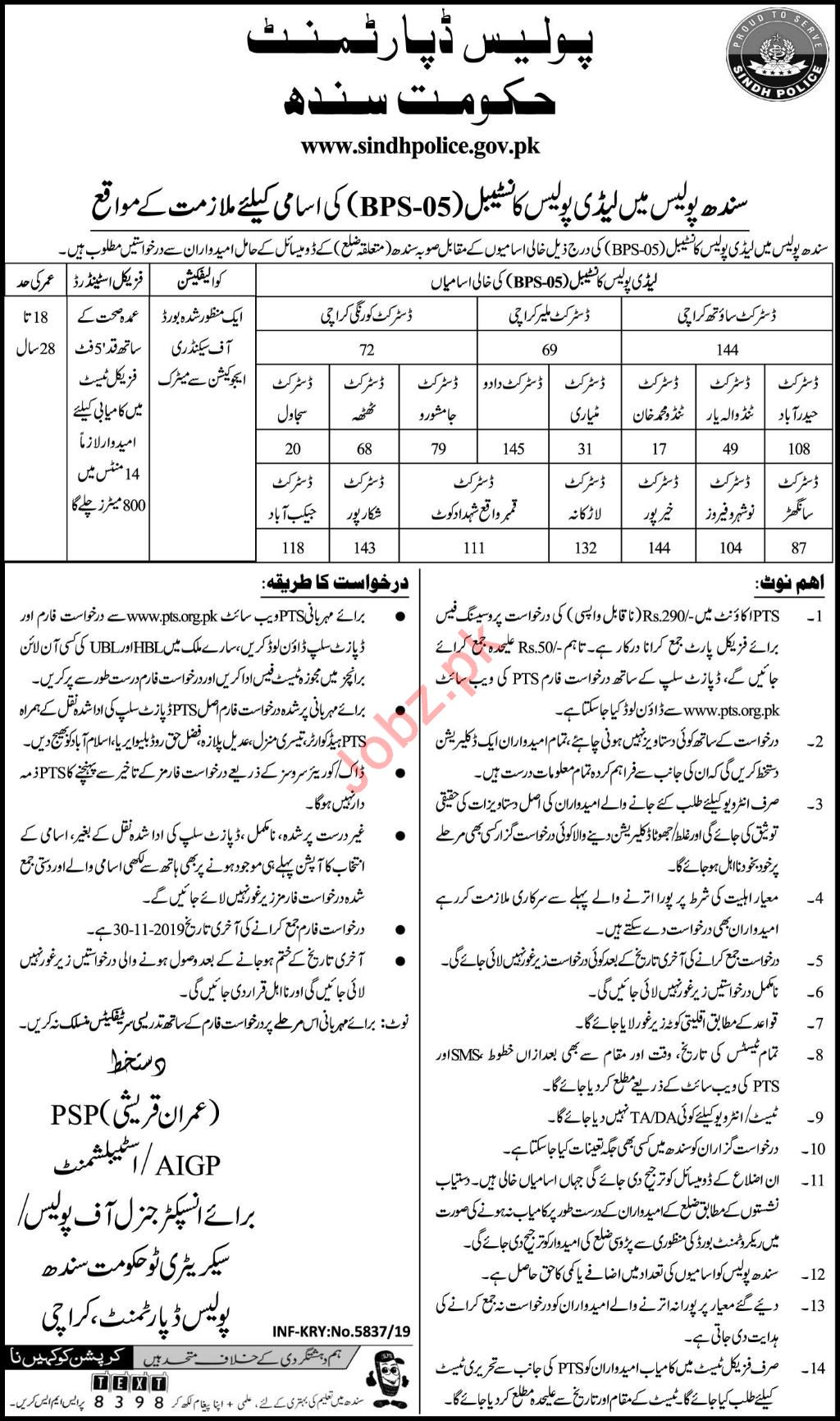 Sindh Police Jobs For Lady Police Constable via PTS