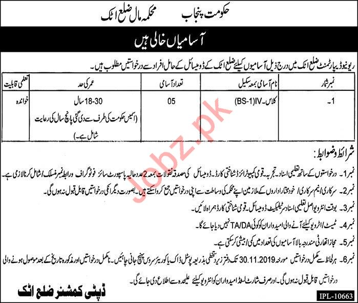 Revenue Department Jobs For Sanitary Workers in Attock