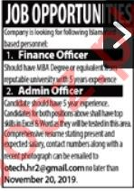 Finance & Admin Officer Jobs 2019 in Islamabad
