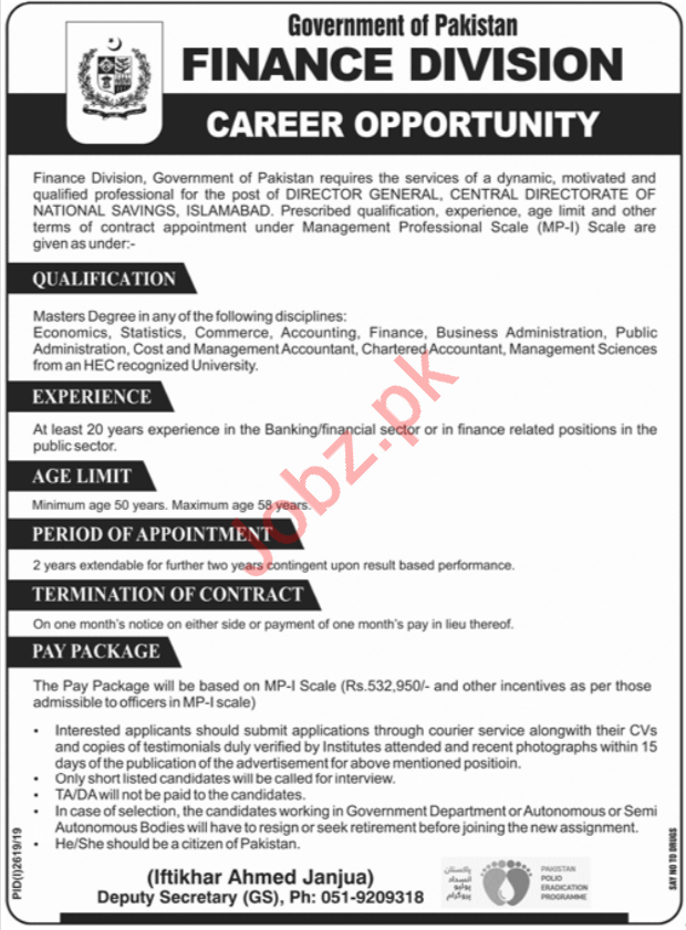 Finance Division Job For Director General in Islamabad