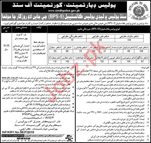 Police Department Sindh Jobs 2019 for Lady Constables