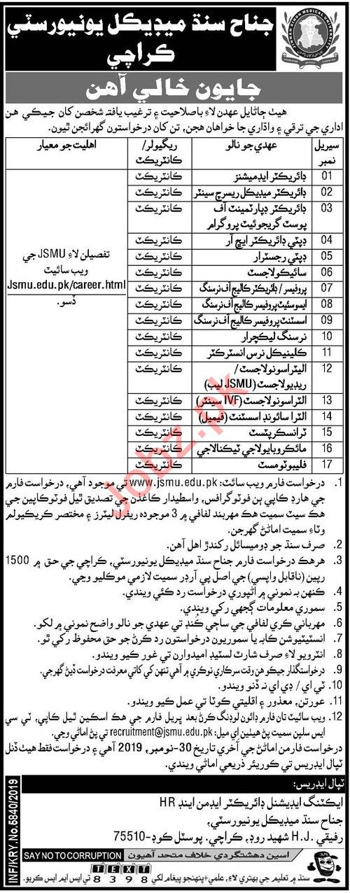 JSMU University Karachi Jobs 2019 for Director & Professors
