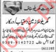 House Staff Jobs in Lahore 2019