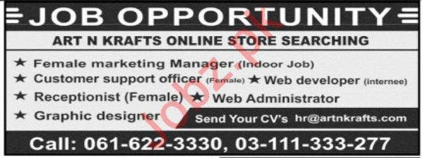 Art N Krafts Online Store Searching Jobs For IT Staff