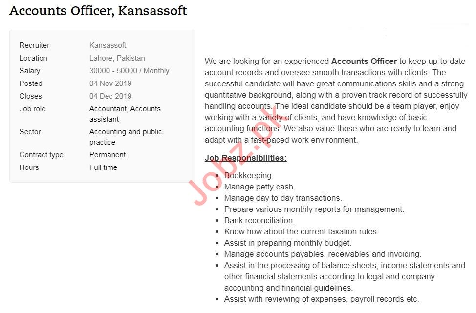 Accounts Officer Job 2019 in Lahore